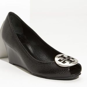 Tory Burch Shoes - Tory Burch Sally 2 Wedge Pump Silver Logo Front